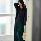 こなれ感が上がる♡グリーン系のプリーツスカートで作る大人女子コーデ