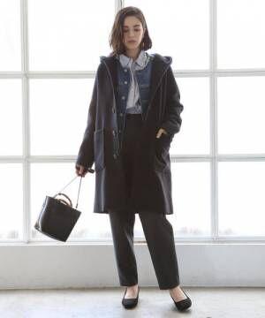 [coen] カバーリングウールミディアムフーデッドコート2