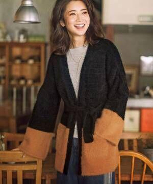 [RyuRyu] ふわふわ起毛ニット配色ガウンコート