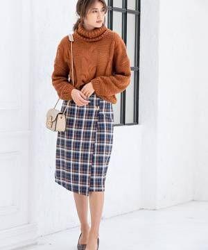 チェックサイドボタンタイトスカート