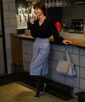セットアップ/日本製)ベルト付きタックタイトスカート