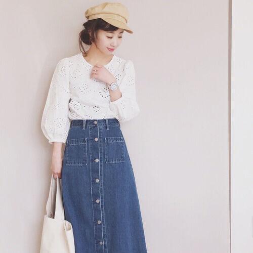 GUのデニムフロントボタンマキシスカートに注目!人気アイテムで作るおしゃれコーデ集♪