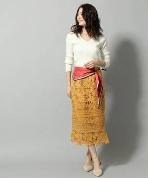 鮮やかコーデでデートへ行こう♡カラーレーススカートで作る大人女子コーデ特集!