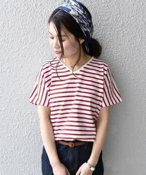 カジュアルなボーダーに可愛さをプラス♡赤×白ボーダートップスを使った大人女子コーデ集