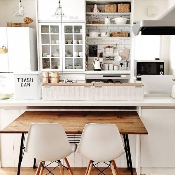 ついつい見せたくなる!キッチンのおしゃれな壁際収納アイディア集♪