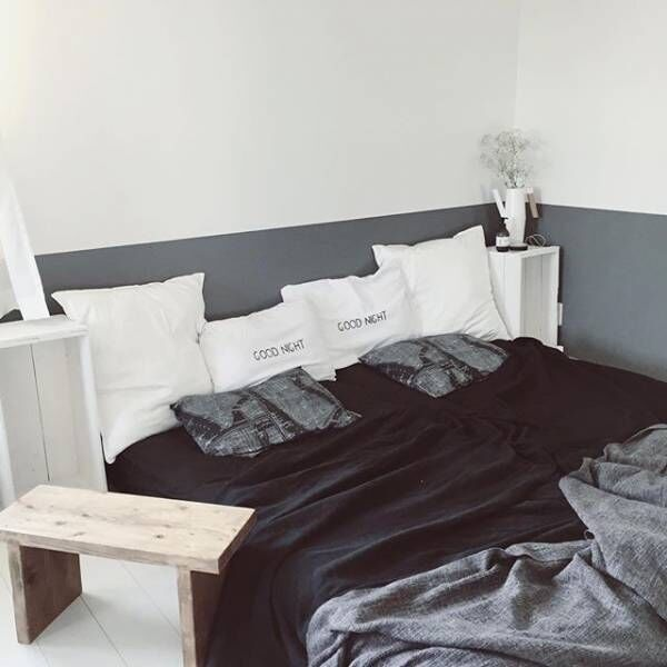 寝室もモノトーンに☆ブラック&ホワイトのかっこいいベッドルーム