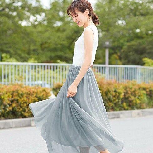 この夏は甘めな大人ガーリーを♡チュールスカートで爽やかな着こなしを叶えよう♪