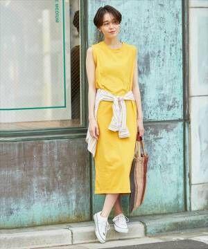 夏のデートは柑橘系カラーをチョイス♡ノースリーブワンピで作る大人キュートコーデ!