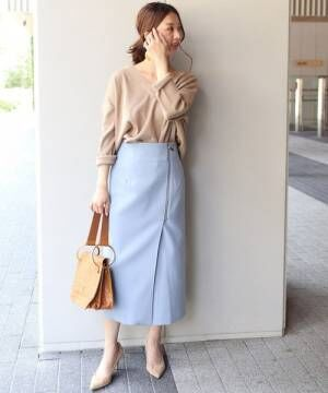 [Spick & Span] PE/RY/W ジップタイトスカート