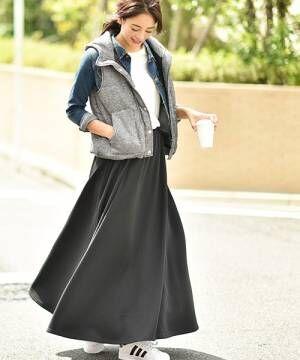 [coca] 毛布のような肌触り裏起毛フレアロングスカート