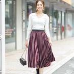 スッキリ見せる「ストライプ柄スカート」15選☆シルエット別にご紹介