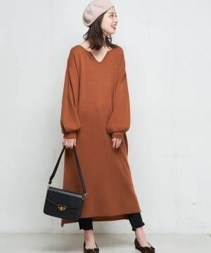 [natural couture] キーネックニットワンピ3