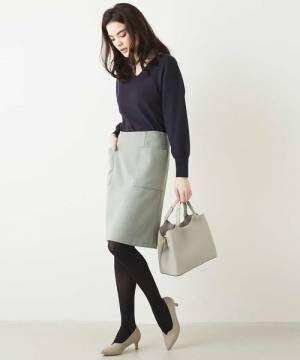 [OFUON] パッチポケット台形スカート