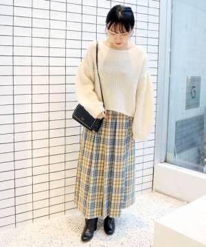 [IENA] チェックプリーツロングスカート◆