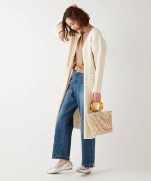 [Discoat] デニム裾配色スリットパンツ