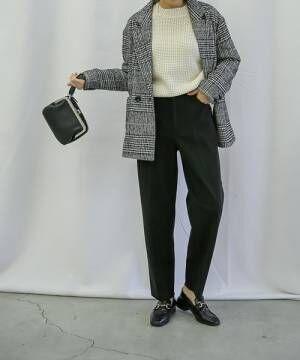 [select MOCA] スウェードタッチテーパードパンツ(美形シルエット両ポケット付センターラインディテールテーパード裾カットオフパンツ)