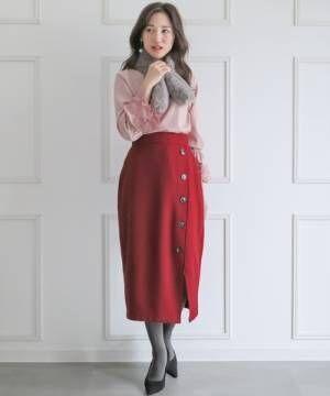 [clear] ラップ風ボタン付きタイトスカート