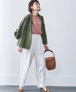 [FELISSIMO] 【大人気!最入荷】MEDE19F古着屋でみつけたようなオーバーサイズミリタリージャケット