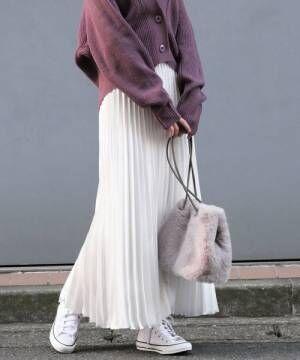 ヘビーサテンアコーディオンプリーツスカート