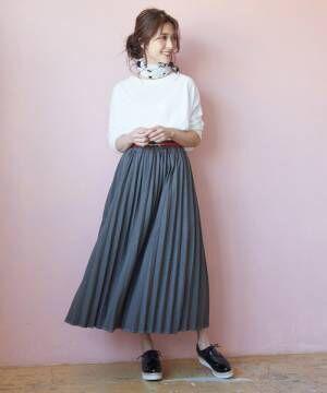 カットデニムプリーツスカート