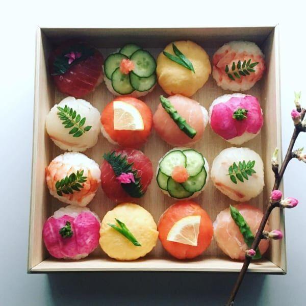 ひな祭りテーブルコーディネート手まり寿司