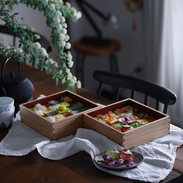 ひな祭りテーブルコーディネート重箱モザイク寿司
