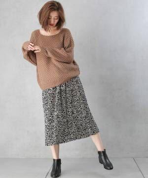 [Discoat] ベロアプリーツヒョウ柄ナロースカート