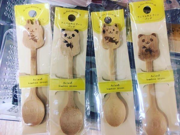 うさぎ、パンダ、ねこ竹製アニマル柄スプーン:キャンドゥ