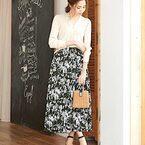 春は花柄ロングスカートが使える!しっとり可愛い大人カジュアルコーデ集♡