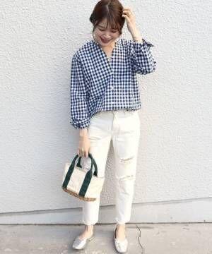 [SHIPS for women] SHIPS Days STANDARD:スキッパー チェックシャツ 19SS◆
