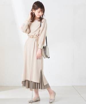 [natural couture] チュール×サテンダブルプリーツスカート