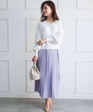 [clear] プリーツロングスカート