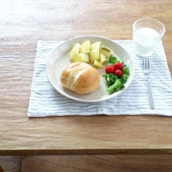 パンがメインの朝食シーン