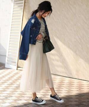 [Bou Jeloud] 綺麗なフレアシルエット◆チュールレーススカート