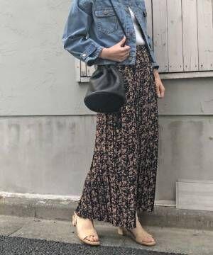 [archives] 花柄ボックスプリーツスカート
