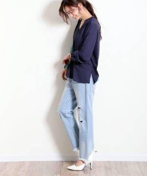 [and Me(アンドミー)] シフォン長袖スキッパーシャツブラウストップス
