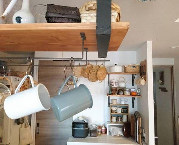 ぶらさげ収納でカフェインテリア
