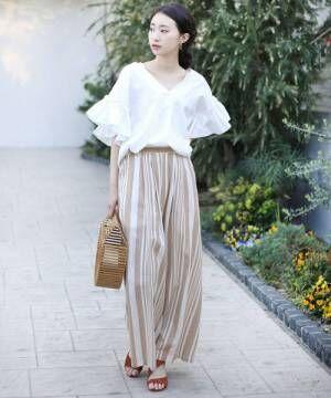◆さらっと着れる◆インド綿麻ストライプワイドパンツ