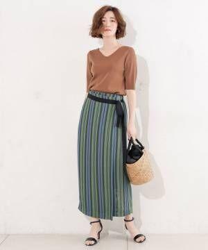 カラミストライプラップタイトスカート