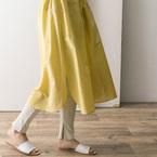 カラー豊富な《春レギンス》♡旬なレイヤードスタイルを楽しみたい