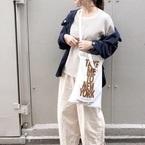 【ユニクロ】のワッフルクルーネックTの着回しコーデ☆シンプルコーデにぴったり♪