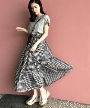 [PICCIN] 【WEB限定】ギンガムチェックギャザーフレアロングスカート