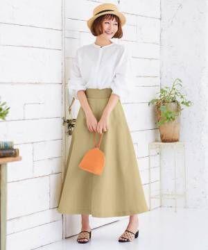 [kobelettuce] バックジップロング丈カラーチノフレアスカート