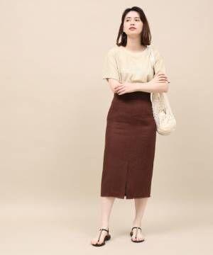 [ROPE'] リネンマエスリットタイトスカート