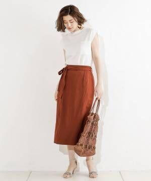 [RIVE DROITE] レーヨンリネンナロースカート
