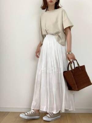 AUNT MARIE'S シャイニーサテンロングスカート