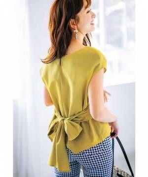 [GeeRA] 【19夏新着】綿素材バックリボンデザインブラウス