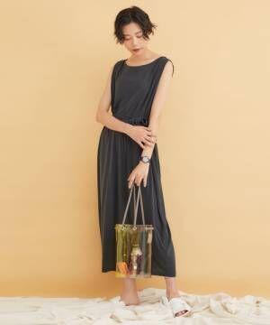 【LAUGOA】巾着型配色クリアショルダーバッグ/Wire 19126-11010