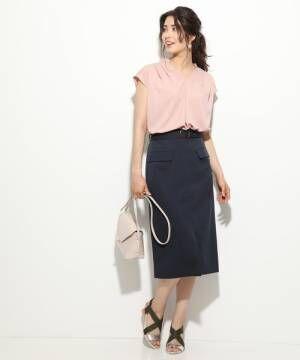 [ViS] ベルト付き前スリットタイトスカート