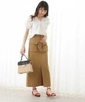 [N.(N. Natural Beauty Basic)] ツイルダンプWポケットマキシスカート